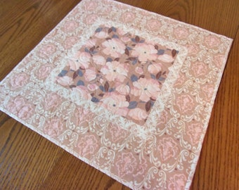 Quilted Pink Floral Table Topper, Quilted Table Runner, Cottage Chic Decor, Shabby Chic, Pink Table Runner, Floral Table Decor, Handmade