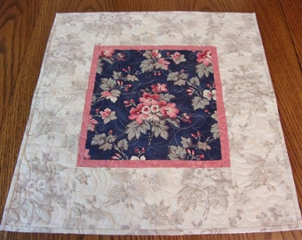 Quilted  Floral Table Topper, Quilted Table Runner, Shabby Chic, Topper, Handmade,  Dinning Table Decor, Cottage Chic, Spring Table Decor