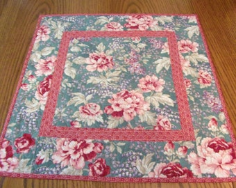 Quilted Teal and Pink Table Topper, Quilted Table Runner, Coffee Table, Shabby Chic, Floral Table Topper, Quilted Table Topper, Cottage Chic