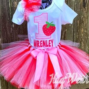 Strawberry Sweetheart Birthday Tutu Outfit-Strawberry First Birthday Outfit-Strawberry Birthday Tutu-Strawberry Birthday