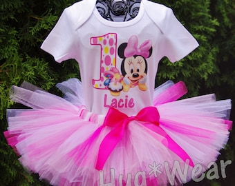 afc0a52d2be3 Custom Baby Minnie Mouse polka dot First Birthday Shirt + Tutu Outfit (any  age) pink, white with hot pink