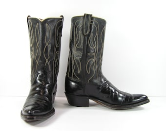 e2828be3d50 vintage dodge city cowboy boots men s 8 D black leather western made in usa  point toe