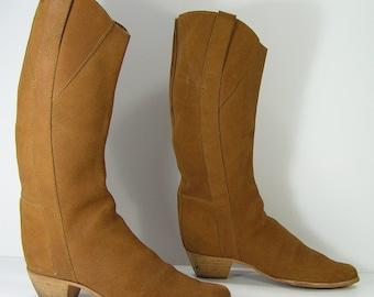 0131c0493a16a Knee high cowboy boots 7 b m brown vintage equestrian western | Etsy