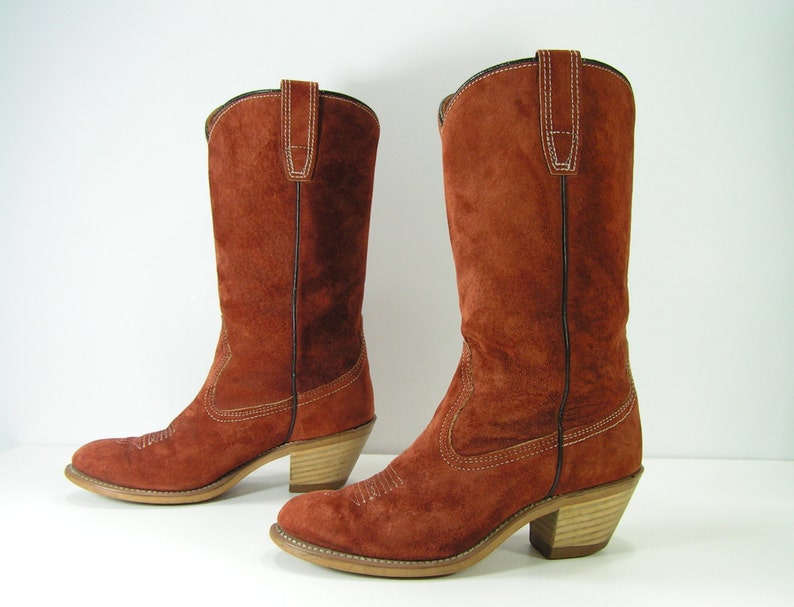 c4ed44ef8c6 vintage wolverine cowboy boots womens 6 M rust brown western leather  cowgirl high heel