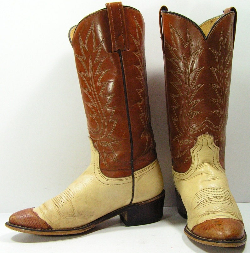 8cd290ad19289 vintage acme cowboy boots womens 6 C or 6.5 m b bone brown cowgirl western  leather faux lizard