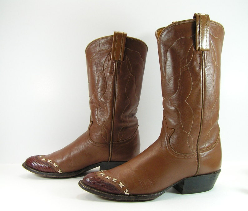 401625a5d8a vintage cowboy boots womens 5.5 M B brown western leather lizard vintage  tony lama cowgirl