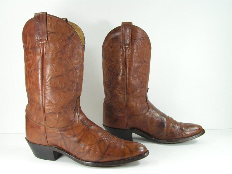 42c238e3fcc vintage cowboy boots women's 8.5 M B brown dan post western genuine leather  cowgirl