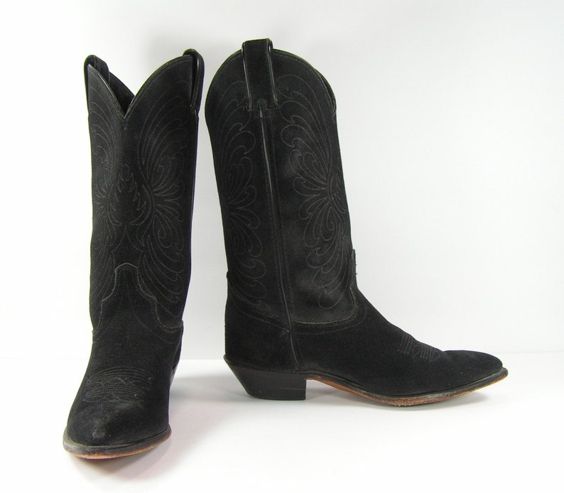 vintage cowboy boots women's 6.5 M B black leather seude cowgirl code west country