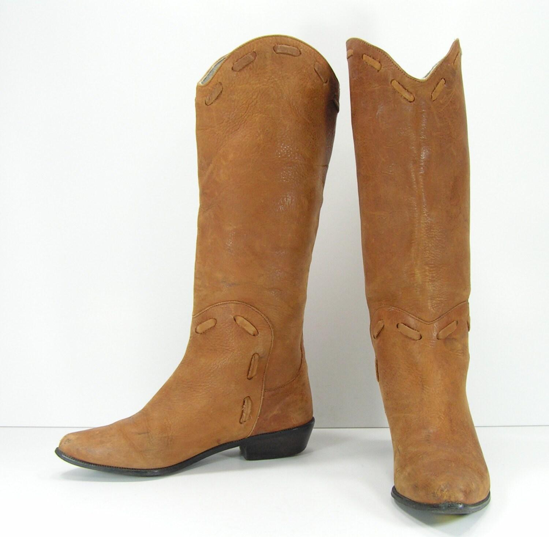 de4c193ada7 cowboy boots womens 7 B brown suede knee high western cowgirl low heel  vintage leather ladies