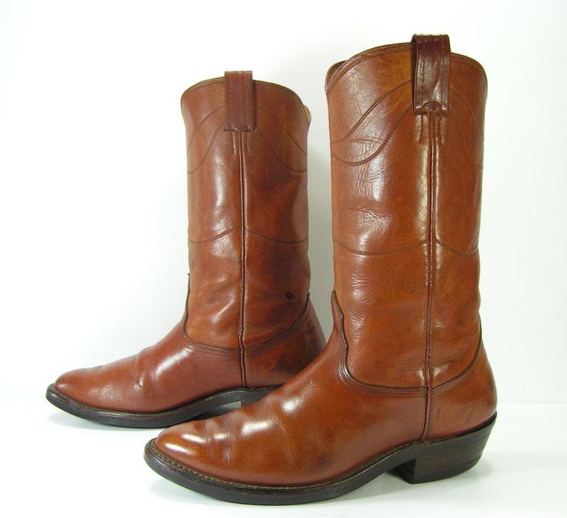 5578f79bda6 cowboy boots mens 9.5 EE wide brown vintage nocona western leather biker  riding usa