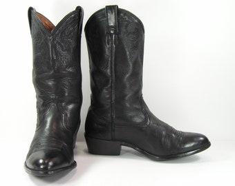 vintage cowboy boots mens 9.5 D black ariat western leather biker