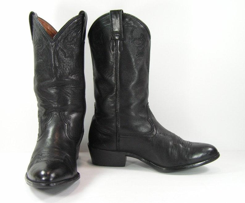 9d2601f4e6e vintage cowboy boots mens 9.5 D black ariat western leather biker