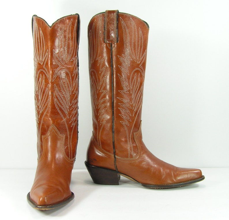 8a3c5ffe3b1 vintage cowboy boots women's 8 M B brown steve madden leather cowgirl tall
