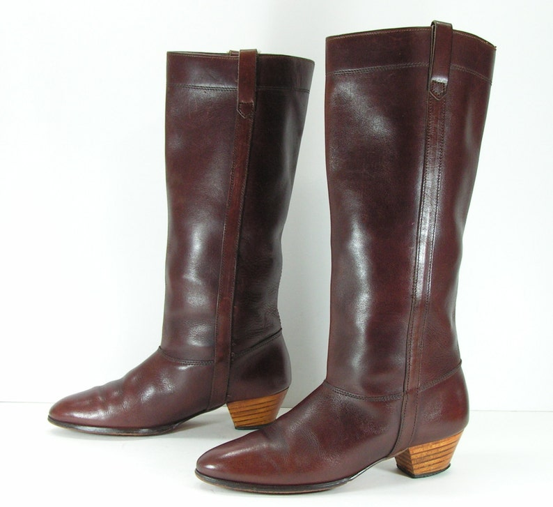 1d17caace6b9e knee high cowboy boots 7 b m brown vintage equestrian western leather  vintage cowgirl