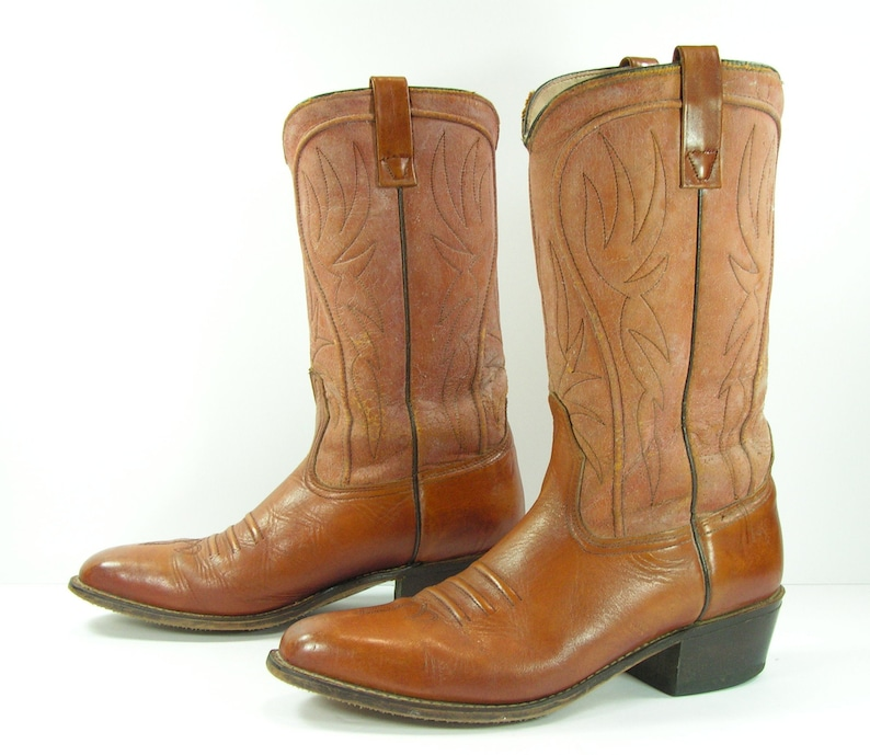 63d8afc38ee vintage acme cowboy boots mens 9.5 D brown leather western