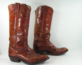 vintage cowboy boots mens 9 D brown nocona zipper western leather biker riding usa