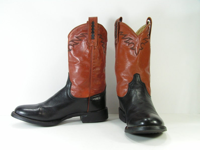 ab692583be3 vintage ariat cowboy boots mens 8 EE black brown western leather womens 10