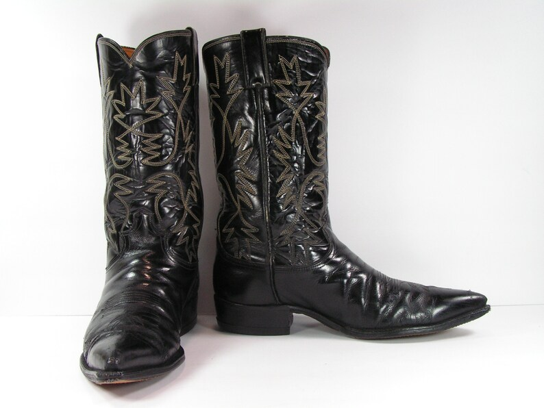 be3623e428d Justin cowboy boots men s 10 D black leather western made