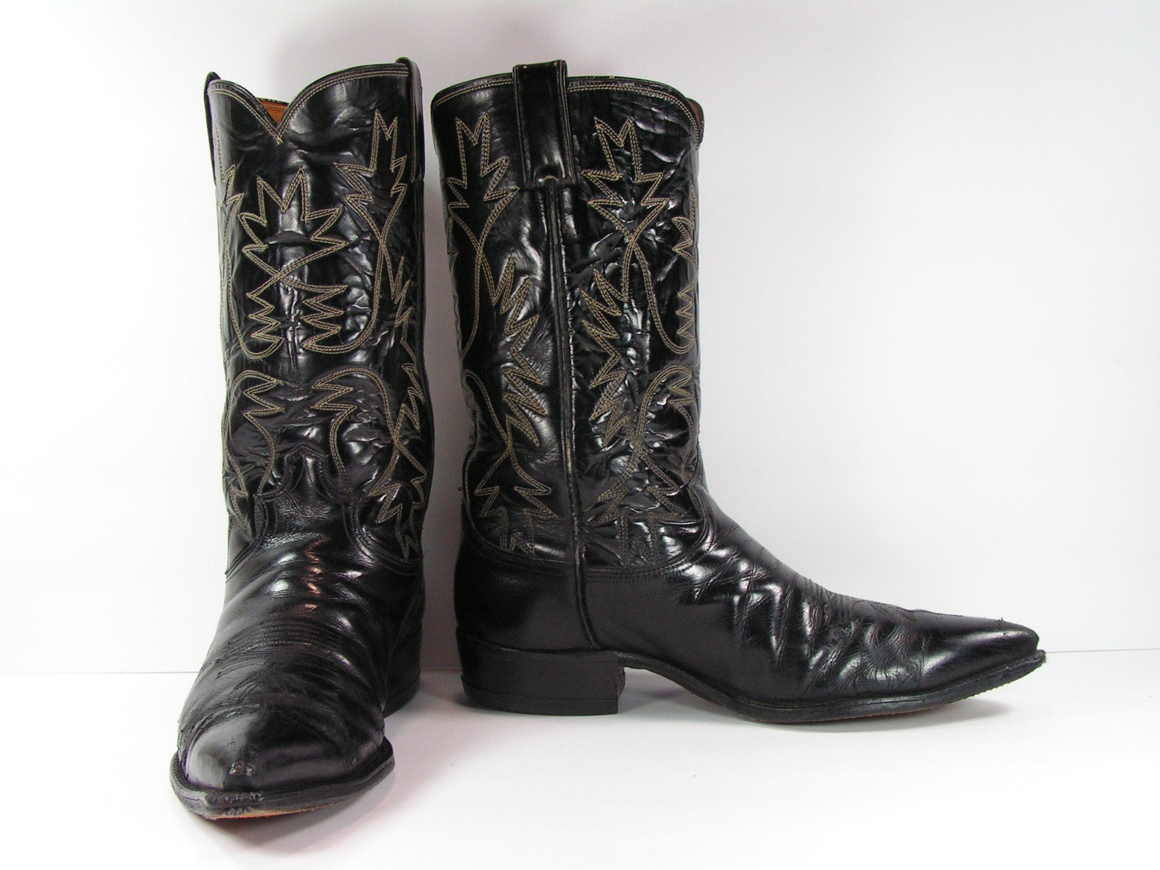 79f00ab8d01 justin cowboy boots men's 10 D black leather western made in usa vintage  cloth label point toe