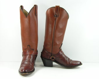 vintage cowboy boots women's 7 N brown Acme harness leather cowgirl 1970's