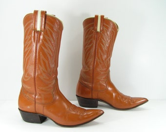 vintage cowboy boots womens 6.5 B M brown vintage nocona leather western cowgirl pointy toe
