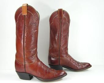 vintage cowboy boots women's 6 M B brown tony lama western genuine leather black label cowgirl