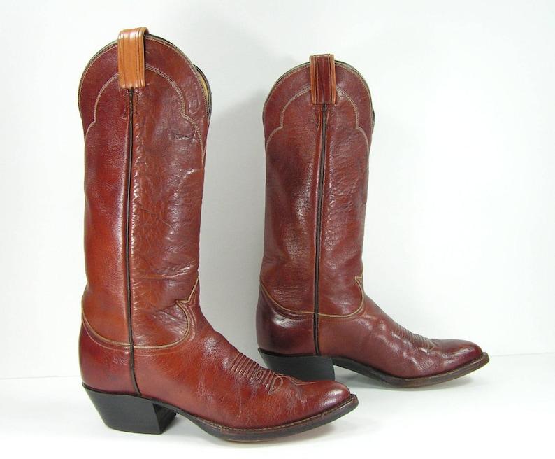 e41ddc305f8 vintage cowboy boots women's 6 M B brown tony lama western genuine leather  black label cowgirl
