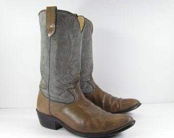 vintage cowboy boots mens 11 D gray cimarron western leather biker
