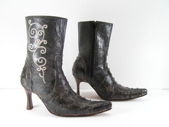short cowboy boots womens 6 m charcoal gray high heel  0b30d9b192b1