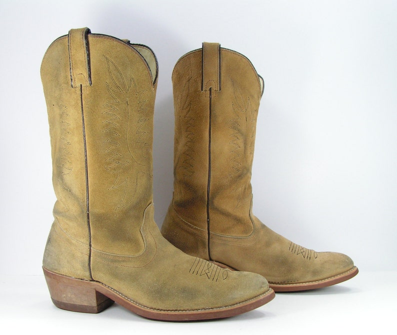 9a0063c0b34 vintage cowboy boots mens 10 d tan sand sheplers western leather biker