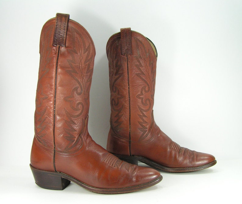 59013f2af8e vintage cowboy boots mens 9 d brown western leather dan post made in usa