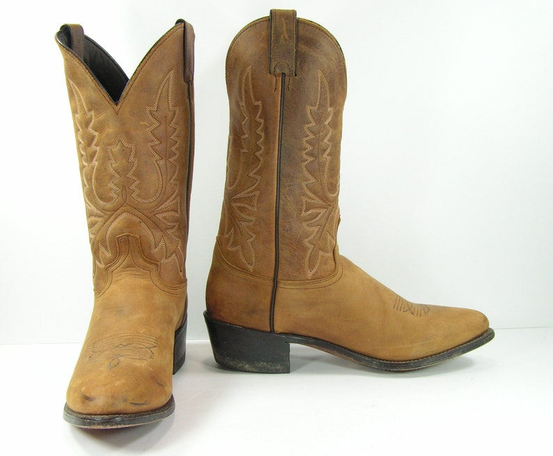 f5521219333 vintage cowboy boots mens 11.5 D brown distressed leather Abilene western