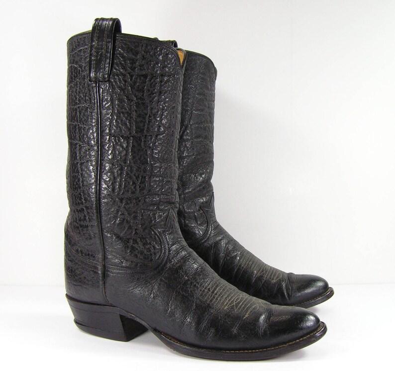 83c30034a0f vintage tony lama cowboy boots mens 10.5 D black western leather biker farm  black label
