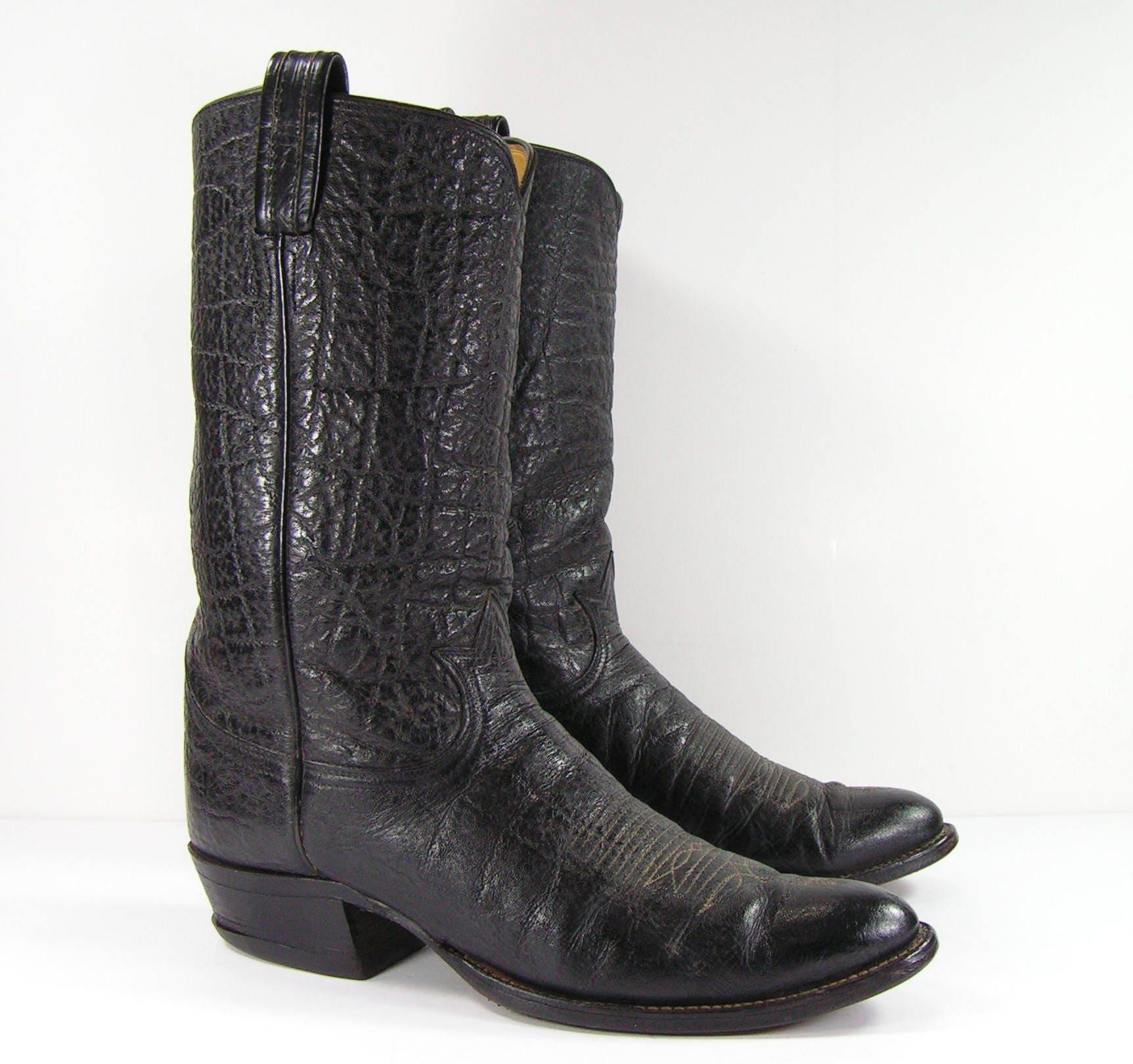 0071b6560e0 vintage tony lama cowboy boots mens 10.5 D black western leather biker farm  black label
