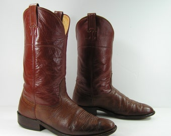 vintage cowboy boots mens 9 D brown nocona western leather round toe usa