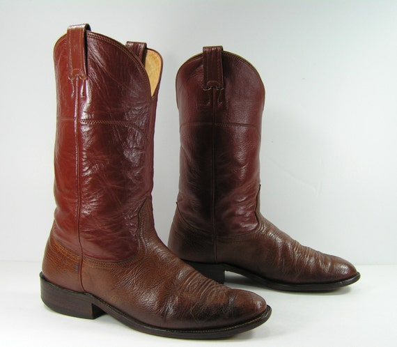 23bea0ed594 vintage cowboy boots mens 9 D brown nocona western leather round toe usa