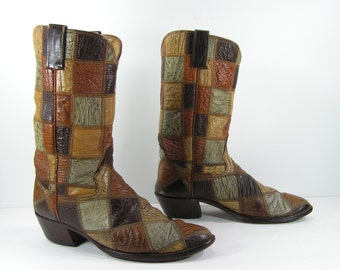 vintage cowboy boots mens 11 D brown shark skin quilt pattern 1970s