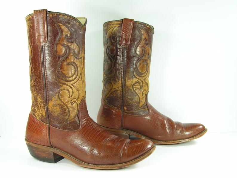 bc4af8a4e50 vintage cowboy boots mens 10.5 D brown western leather
