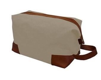 Personalized Canvas Dopp Kit- Tan