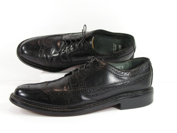 vintage wingtip dress shoes mens 10.5 D black oxfo