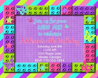 Building Block Birthday Party Invitation Digital File