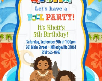 Maui Moana Pool Party Invitation Birthday Sibling Luau Twin Inspired Digital File