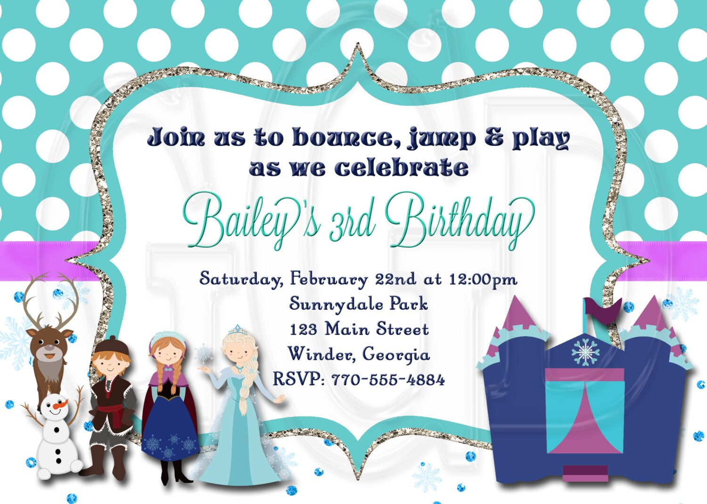 Ice Princess Invite Frozen Bounce House Birthday Invitation | Etsy
