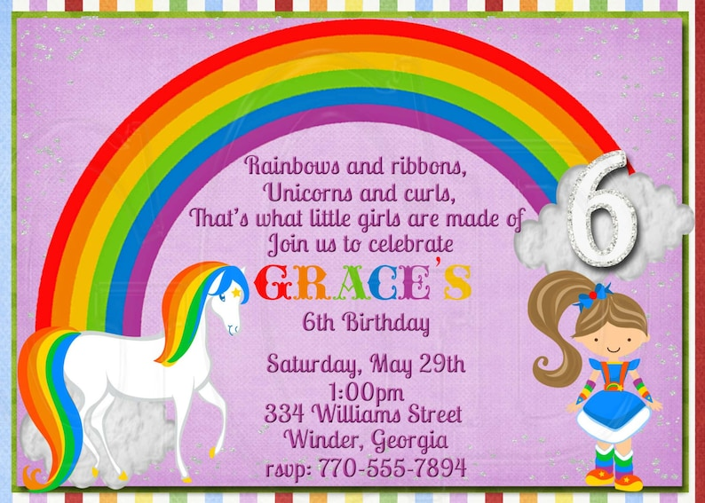 Unicorn Rainbow Invite Brite Birthday Party