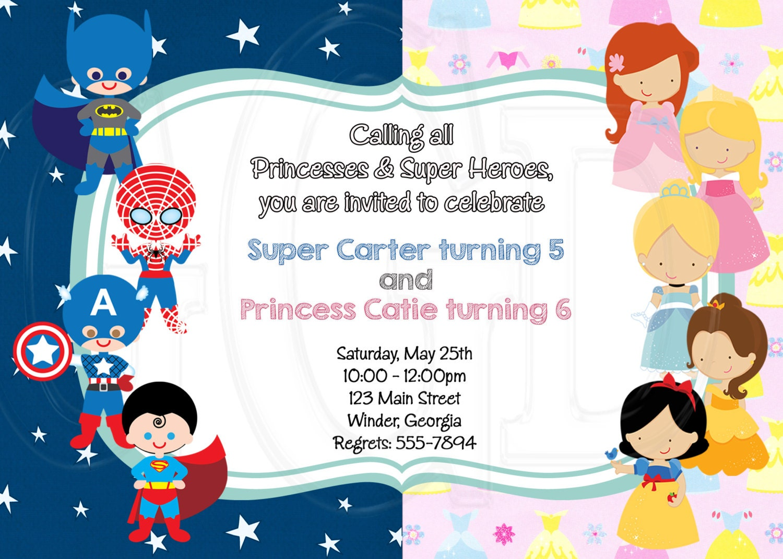 Superhero Princess Birthday Invitation sibling invitation | Etsy