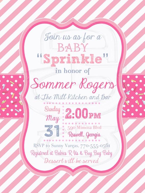 Pink Stripe Baby Shower Invitation Baby Girl Sprinkle Etsy