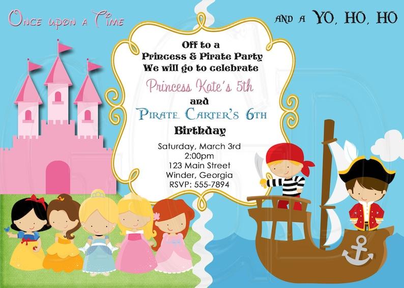 Princess Pirate Birthday Invitation Pirates Princess Party Etsy