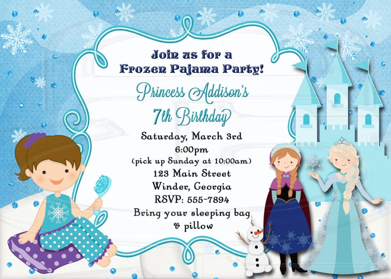 Frozen Slumber Party Invitation Frozen Pajama Party birthday | Etsy