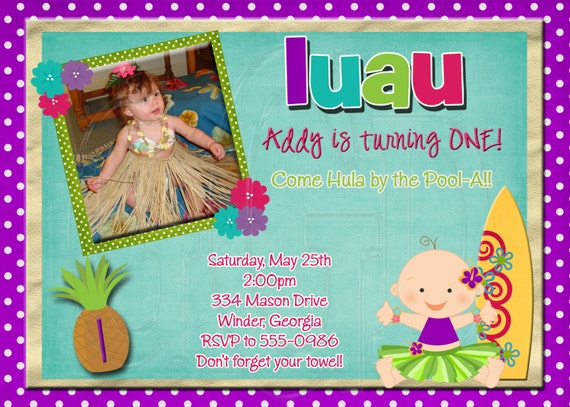 Luau Birthday Invitation Photo Invite Theme Party