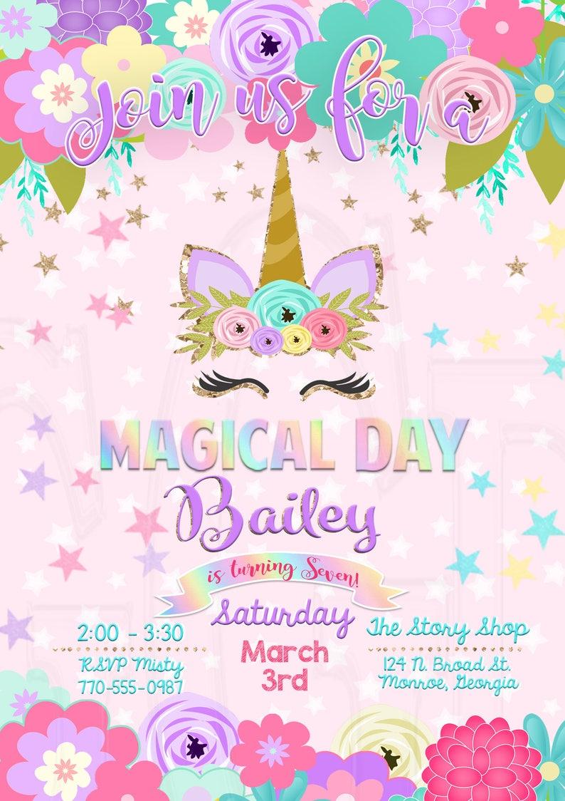 Unicorn Birthday Invitation Theme Party